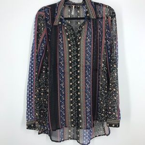 Free people sheer floral button down shirt med